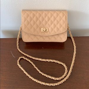 Quilted vegan leather crossbody purse